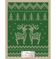 Christmas greeting card with knitted deers vector image