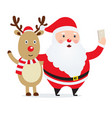 christmas selfie santa claus with a deer vector image