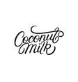 coconut milk hand written lettering vector image vector image