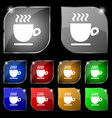 Coffee cup sign Set of ten colorful buttons with vector image