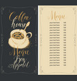 coffee house menu with broken cup and price list vector image vector image