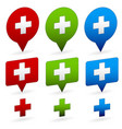 crosses on different shapes first-aid healthcare vector image