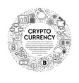 cryptocurrency banner with linear icons set in vector image