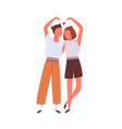 cute homosexual couple hugging and showing a heart vector image vector image