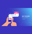cv fulfilling and sending online using mobile app vector image