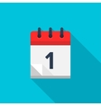 Flat calendar icon Date and time background vector image