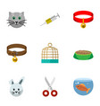 flat icon pets set of bunny fishbowl vaccine and vector image vector image