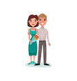 happy couple in love on a date cartoon vector image vector image