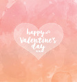 Heart on watercolour valentines day background vector image vector image