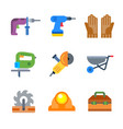 instruments and tools colored trendy icon pack 3 vector image