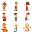 kids wearing national costumes of different vector image vector image