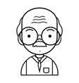line old man teacher with glasses and uniform vector image vector image