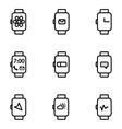 line smart watch icon vector image