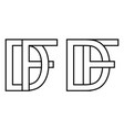 Logo df fd icon sign two interlaced letters d f