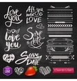 Love Phrases Borders and Symbols on Chalkboard vector image vector image