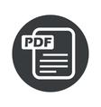 Monochrome round PDF file icon vector image vector image