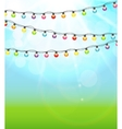 Multicolored Garland Lamp Bulbs Festive on Natural vector image vector image