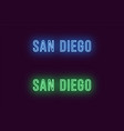 neon name of san diego city in usa text vector image