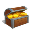 open wooden chest with gold coins chest icon vector image vector image