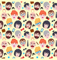 pattern with men faces vector image vector image