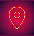 red neon map pointer symbol vector image