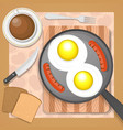 scrambled eggs with sausages vector image vector image