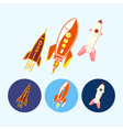 Set icons with spaceships rockets vector image vector image