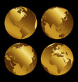 set of golden 3d metal globes on black background vector image