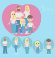 set of happy family dad mom girls and son vector image
