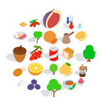 street vegan cafe icons set isometric style vector image vector image