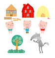 three little pigs on white background vector image
