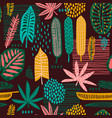 tribal seamless pattern with abstract leaves vector image