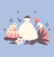 wedding day invitation set with wedding cake vector image