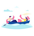 young happy couple man and woman floating boat vector image vector image