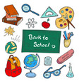 colorful back to school hand-drawn doodle set vector image