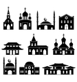 Church building black icons set vector image