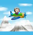 a pilot riding a plane over mountain vector image vector image