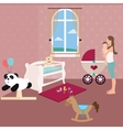 baby nursery room with crib toys and moms holding vector image