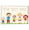 background template with happy family vector image vector image