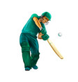 batsman playing cricket on white background hand vector image vector image