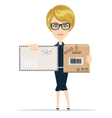 Beautiful girl postman vector image