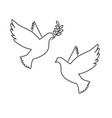 black silhouette flying dove with olive twig vector image
