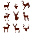 black silhouettes different deer horns vector image vector image