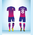 blue pink color football t-shirt mock up vector image