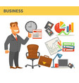 business businessman in suit leather chair and vector image vector image