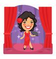 cartoon salsa dancer on stage vector image vector image
