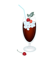 Cherry Juice in Glass with Cherries and Ice vector image