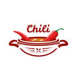 chili soup with red pepper emblem vector image vector image