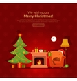 Christmas fireplace room interior vector image vector image
