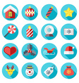 christmas icons in flat design style for web vector image